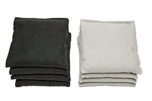 Weather Resistant Cornhole Bags (Set of 8) by SC Cornhole (Black/Grey) Duck Canvas Material