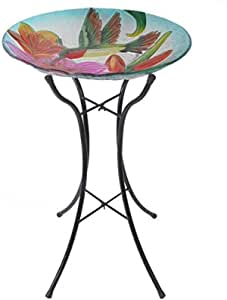 Peaktop Hand Painted Hummingbird with Blossom Glass Plate Bird Bath with Foldable Metal Stand, 18""