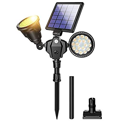 ROSHWEY Outdoor Solar Spotlights, 36 LED Double Head Security Light 1000LM Waterproof Landscape Light with Motion Sensor for Garden Landscape Patio Porch Deck Garage