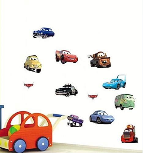 Wall Decal Sticker Cars Walt Disney Pixar Kids Bedroom and Kindergarten Mural Home Decor DIY Plastic Self adhesive Removable Small ()