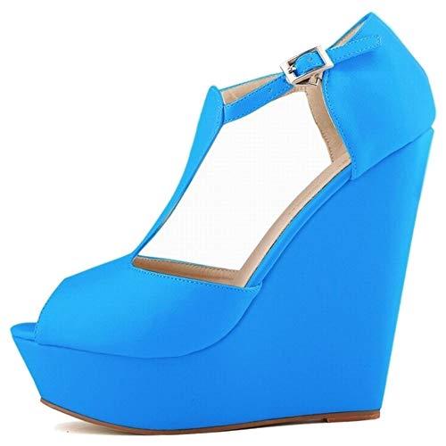 Compensé bleu Zanpa Talon Sandales Femmes Des 1 Mode 1wTX6