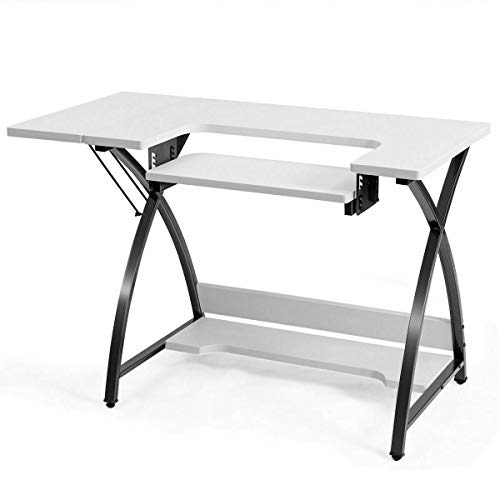 Sewing Craft Table Bottom Shelf for Storing Sewing Tools Sewing Cabinet Large Worktop Sewing Station Adjustable Drop Down Platform Multifunctional Can Be Used As Computer Desk Laptop Notebook Table