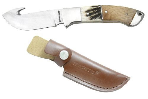 Sarge-Knives-SK-912-Wood-and-Stag-Gut-Hook-Fixed-Blade-Knife-with-3-12-Inch-Stainless-Blade-and-Stainless-Bolsters-Handle