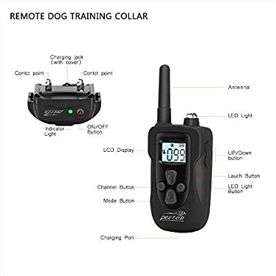 Dog Shock Collar, PESTON Dog Training Collar with Remote - Rechargeable and Waterproof, All Size Dogs (10Lbs - 100Lbs), 1000 Foot Range