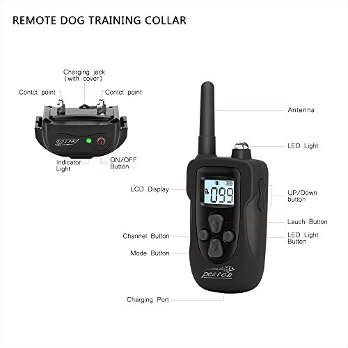 Dog-Shock-Collar-PESTON-Dog-Training-Collar-with-Remote-Rechargeable-and-Waterproof-All-Size-Dogs-10Lbs-100Lbs-1000-Foot
