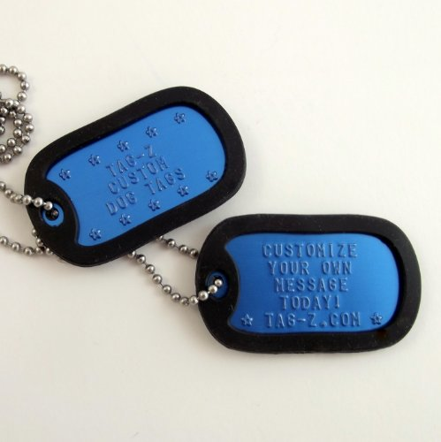 Military Dog Tags - Custom Embossed Royal Blue Dog Tags with