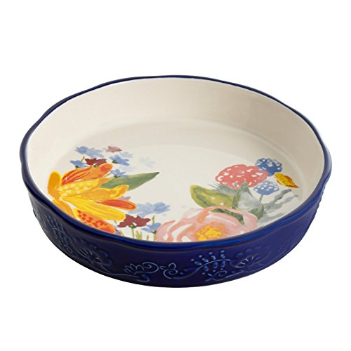 The Pioneer Woman Celia Pie Pan 9'' Blue Floral Ceramic Stoneware by Gibson