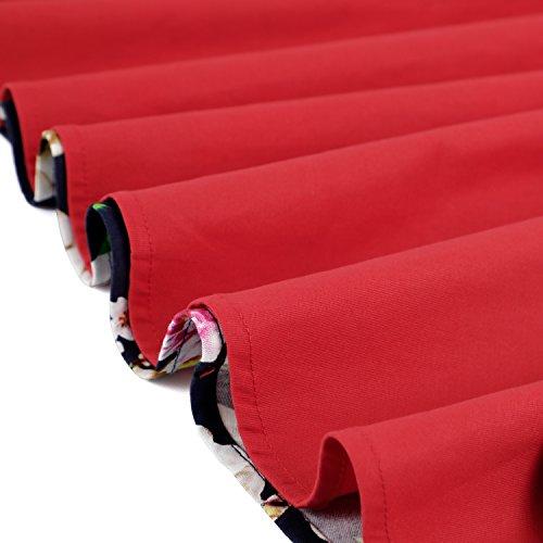 da Donna Floreale Casual Sera Cocktail Halterneck Festa Vintage anni'50 Abito MERRYA Blu Estivi amp;rosso Vestiti HvqCw8U
