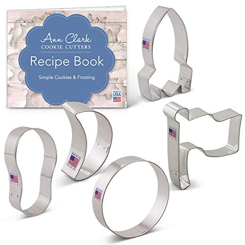 50th Anniversary Apollo Space Landing/Man on the Moon Cookie Cutter Set with Recipe Booklet - 5 piece - Flag, Rocket, Moon, Crescent Moon and Footprint - Ann Clark - USA Made Steel