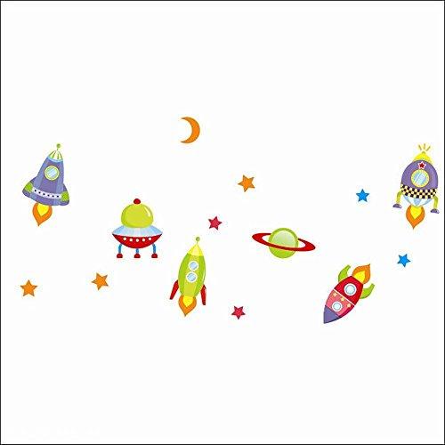 Removable Room Nursery Kindergarten Decor Rocket Star Moon Wall Sticker Decal (B type)