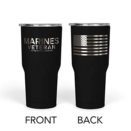 We The People - Marines Veteran Mug - Stainless Steel Travel Mug with American Flag - 30 oz Insulated Tumbler - Veteran Gifts for Men - Military Deployment Gifts (Black)
