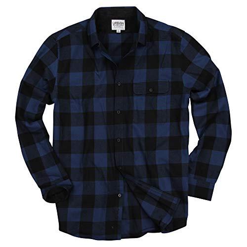 Urban Boundaries Men's Long Sleeve Flannel Shirt w/Point Collar (Navy/Black, X-Large)
