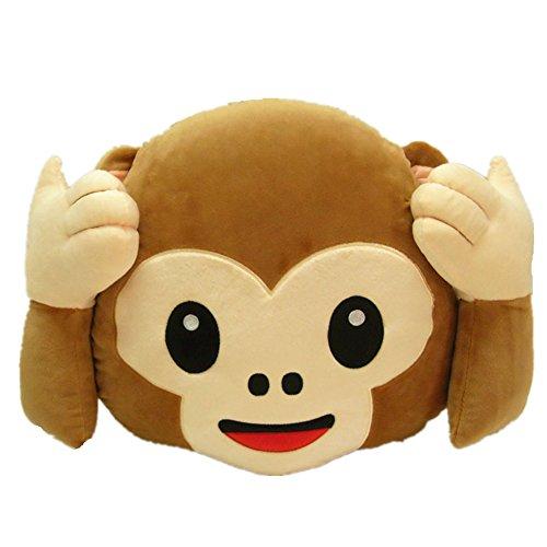 LI&HI Affe Emoji Lachen Emoticon Kissen Polster Dekokissen Stuhlkissen Sitzkissen Rund(hören Sie nicht)