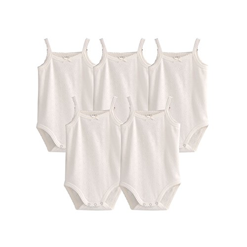 Girls Sleeveless White Beautiful - Lil Peanut Cute Baby Sleeveless Bodysuits Beautiful Multicolored Onesies 5 Pack (White with Heart Designs, 18 Months)