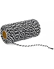 1 Roll 100m/328 Feet Multifunctional Cotton Bakers Twine String Glass Bottle Gift Box Decor Craft Packing Rope Perfect For Baking Butchers and Christmas Gift Wrapping (Black+White)