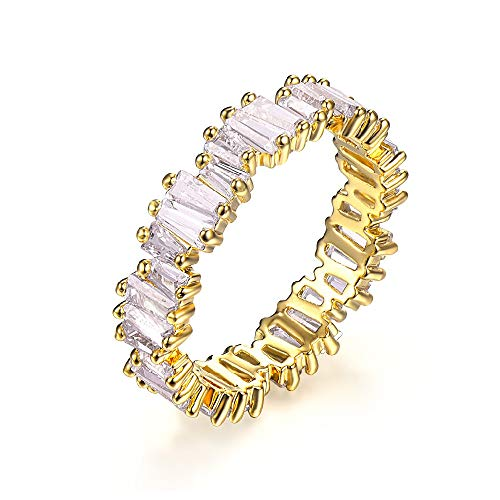 (Fashion AAA cubic zirconia Baguette thin band ring R0377 (Yellow, 7))