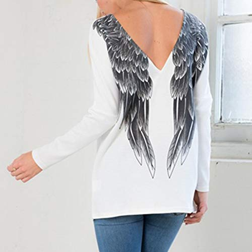Fashion Women Angel Wings Long Batwing Sleeve V-Neck Tee T-Shirt Backless Tops