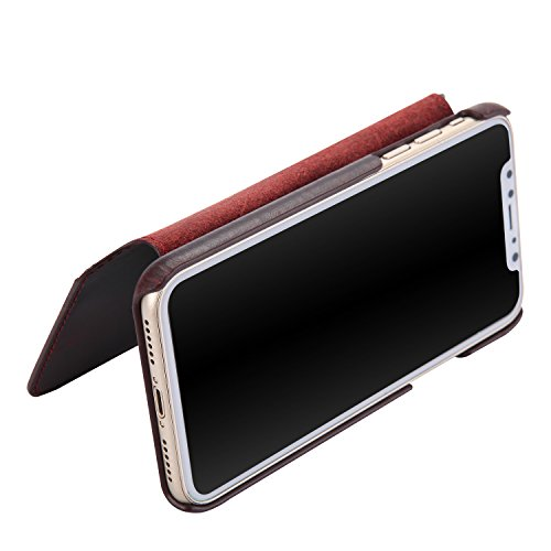 iPhone X Case, Reginn Waxed Leather Wallet Case with [Card Slot] [Cash Pocket] and [Stand Function] [Wireless Charging Compatible] Folio Cover for 5.8 Inch Apple iPhone X (Wine Red) by Reginn (Image #4)