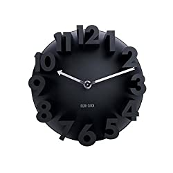 3D Digital Modern Contemporary Home Office Decor Round Quartz Wall Clocks Home Decor Decoration (Black)