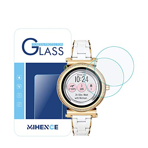 for MICHKAEL Kors Access Sofie Screen Protector, 2.5D Rounded Edges 9H Premium Real Tempered Glass Screen Protector for Access Smartwatch Sofie (Gen 2) MKT5039 Anti Scratch Protector (2-Pack)