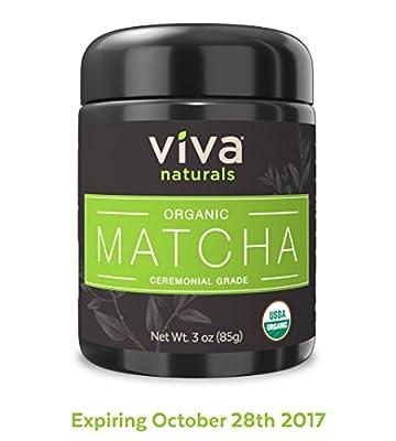 Viva Naturals Organic Matcha Green Tea Powder [3 oz] - Japanese Ceremonial Grade for Lattes, Smoothies and Baked Goods