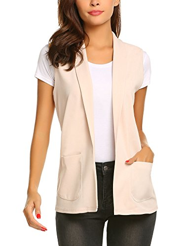 Dealwell Women's Elegant Sleeveless Blazer Solid Open Front Pocket Vest Cardigan (Light Pink, Medium)