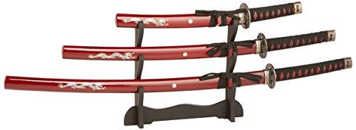 BladesUSA JS-697R Samurai Katana Sword Set 3 Piece 39.5-Inch Overall ()