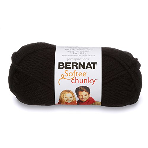 Bernat Softee Chunky Yarn, 3.5 Oz, Gauge 6 Super Bulky, Black (Knitting Black Yarn)