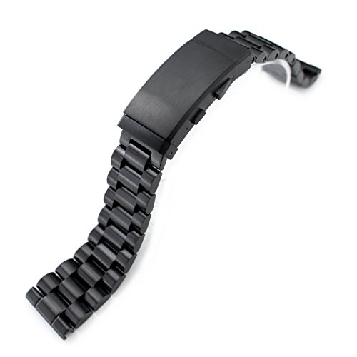 22mm Solid 316L SS Endmill Metal Watch Bracelet, Straight End, Ratchet Clasp, PVD Black by 22mm Metal Band by MiLTAT