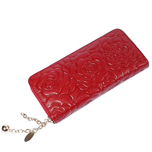 Embossed Clutch Wallet (Herebuy - Women's Rose Embossed Leather Wallet Zip Around Clutch Purse)