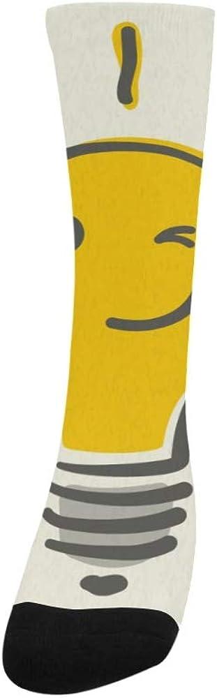 Funny Yellow New Idea Light Bulb Crazy Dress Troser Sock For Men Women Botts