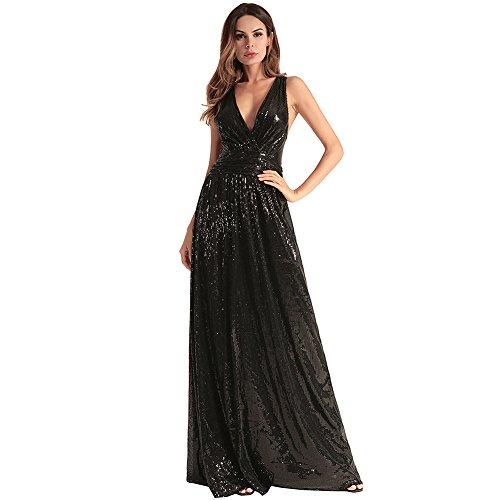 Frauen Damen Kleid Sexy Low VAusschnitt Backless Lange Maxi Abend ...