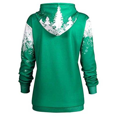 Green Maniche Yuch Femminile shirt A nbsp;t Lunghe Natalizia Con Stampa Cappuccio 6wZUqf6v