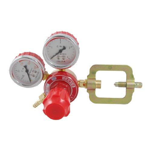 Gold Tone Red Welding Acetylene Regulator w 2 MPa Decrement Gauges