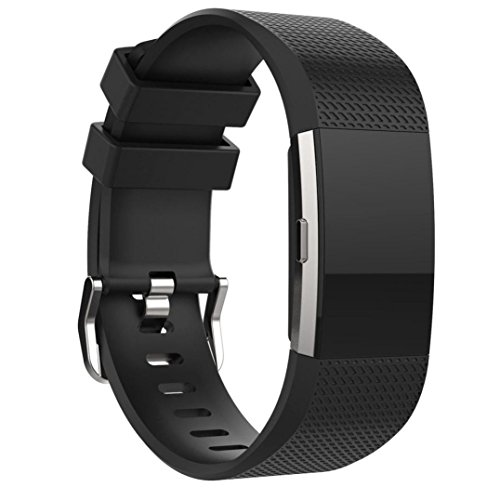 Datework Sports Silicone Bracelet Strap Band For Fitbit Charge 2 (5.90--9.15inch) (Black)