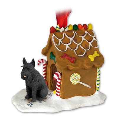 GIANT SCHNAUZER Dog Black GINGERBREAD HOUSE Christmas Ornament NEW Resin 58B
