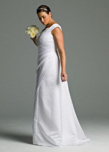 Satin Off-the-Shoulder A-Line with Side-Drape