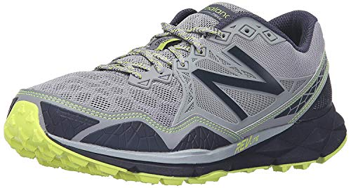 New Balance Men's 910v3 Trail Running Shoe, Grey/Yellow, 8.5 D US
