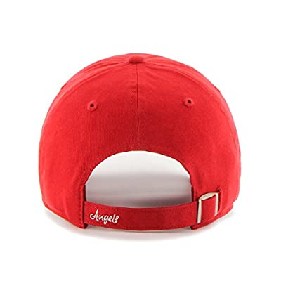 MLB Los Angeles Angels Women'S Sparkle Team Color Clean Up Adjustable Hat, One Size, Red