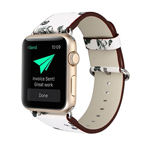 KOBWA Apple Watch Band 38mm, Premium Leather Strap Wrist Band Replacement with Stainless Metal Clasp for Apple Watch Series 1 Series 2 38mm All Models White Flowers