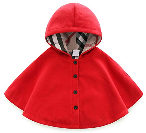 MaxKids Baby and Toddler Boys & Girls Wool Blend Winter Hooded Outerwear Capes Poncho Coat Red