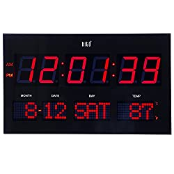 hito Extra Large Oversized LED Wall Clock w/Date, Week, Indoor Temperature, Brightness Adjustable, Memory Function, Adapter Included (Red)