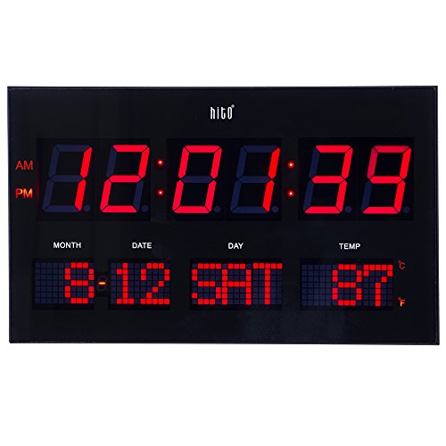 hito Extra Large Oversized LED Wall Clock w/ Date, Week, Indoor Temperature, Brightness Adjustable, Memory Function, Adapter Included (Red)