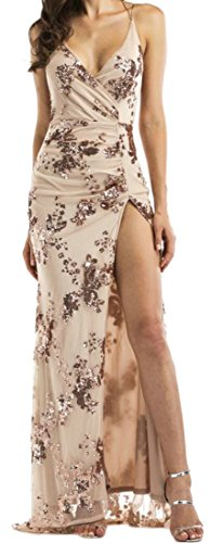 Womens Strape Printed Neck V Slit Party Spaghetti Cromoncent Dress Summer golden ZnqTRwpxR4