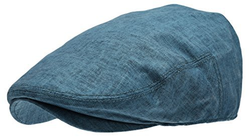 - Men's Linen Flat Ivy Gatsby Summer Newsboy Hats (Blue, LXL)