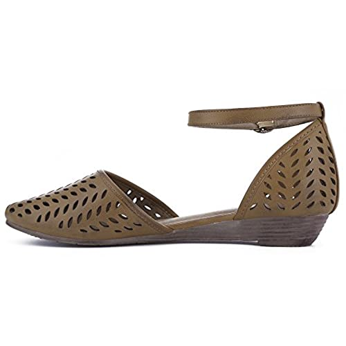 c1fd84b738e2 MaxMuXun Womens Roman Ankle Strap Cage Closed Toe Flat Sandals ...