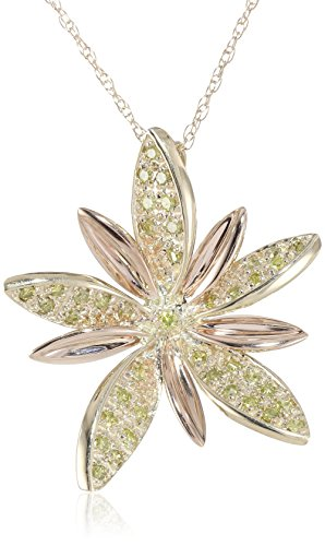 10k Yellow and Rose Gold Flower Yellow Diamond Pendant Necklace (1/5 cttw), 18″
