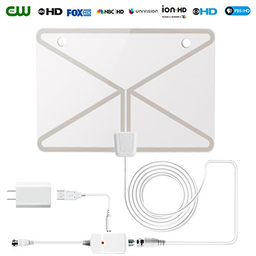 HDTV Antenna,60 Mile Range Digital TV Receiver with Detachable Amplifier, USB Power Supply and 16.5ft Coax Cable,Indoor TV Antenna (2018 Transparent Appearance Upgrated Version)