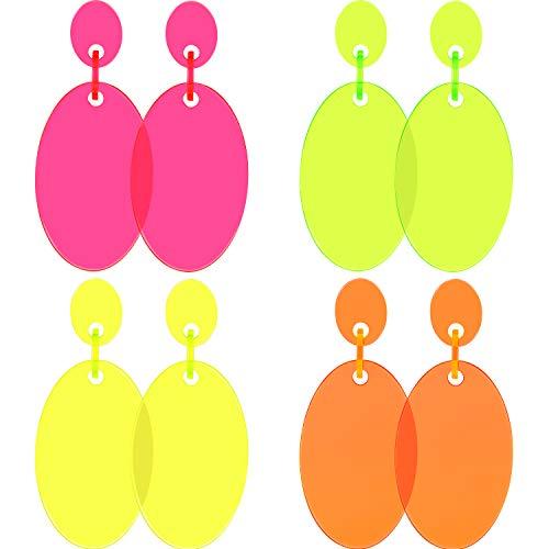 4 Pairs Women 80s Earrings Retro Earrings Dangle Earrings Neon Earrings for 80s Party Costume Accessory (Color Set 4) -