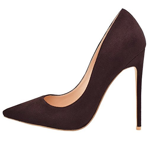 Lovirs Womens Brown Suede Pointed Toe High Heel Slip On Stiletto Pumps Wedding Party Basic Shoes 8 M - Womens Brown Pumps Suede